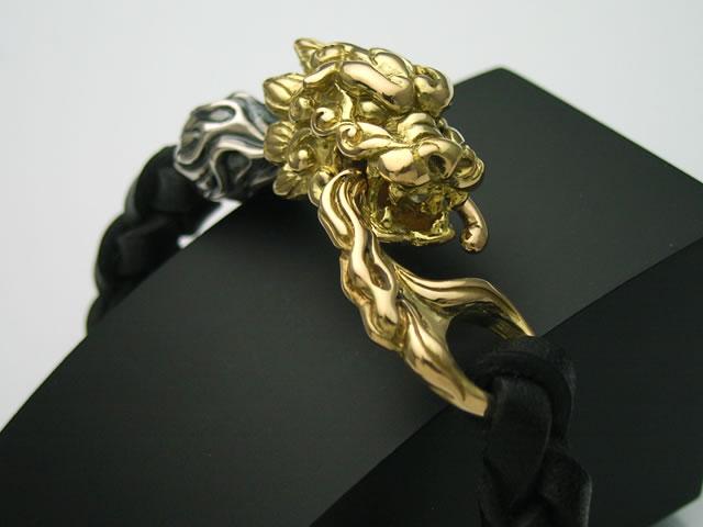 【K18ゴールドアクセサリー】【送料無料】18金製の狛犬レザーブレスレット【smtb-k】【ky】