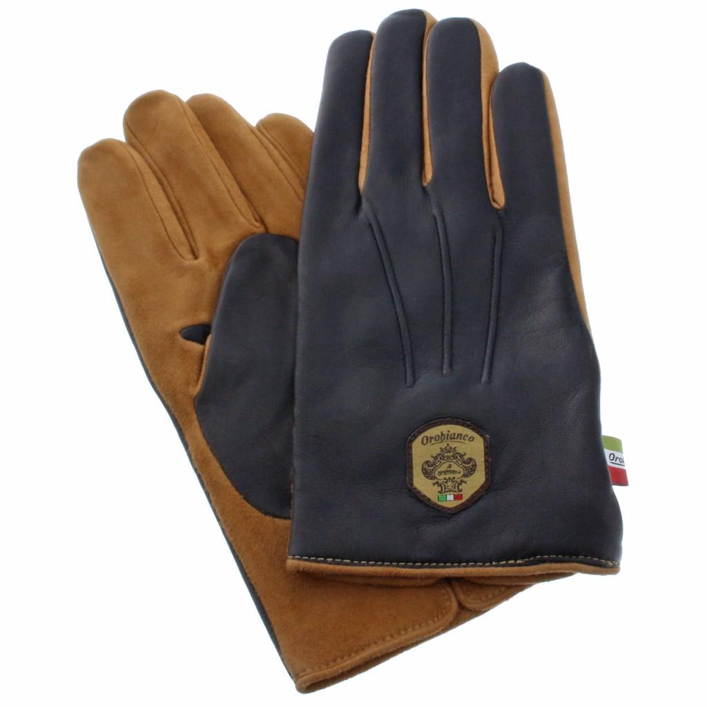 Orobianco オロビアンコ 手袋 メンズ ORM-1531 NAPPA SUEDE ネイビー/キャメル 8.5 (24cm)