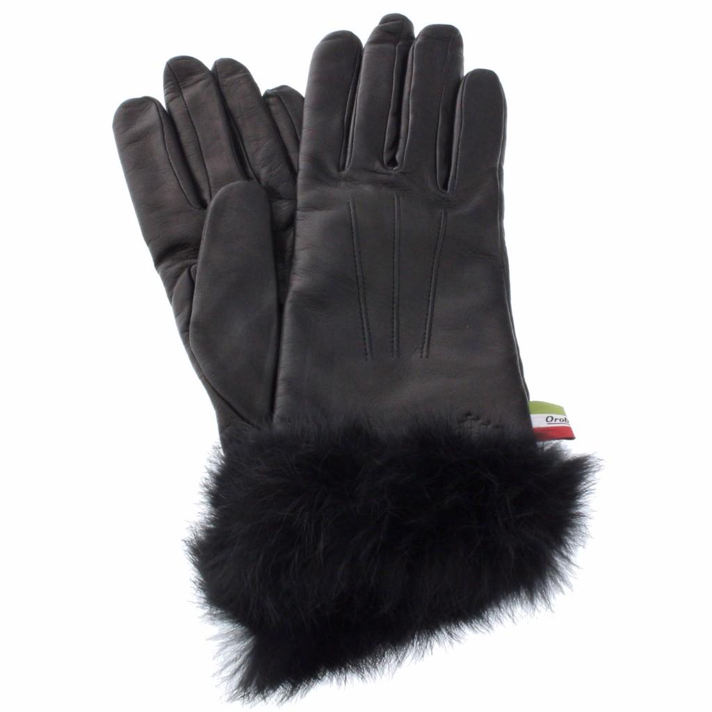 Orobianco オロビアンコ 手袋 レディース ORL-1584 NAPPA ブラック 7.5 (21cm)