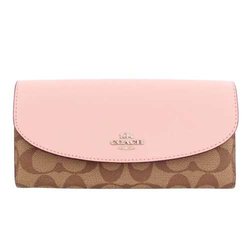 COACH OUTLET コーチ アウトレット 長財布 レディース カーキ/ピンク F54022 SVN3X