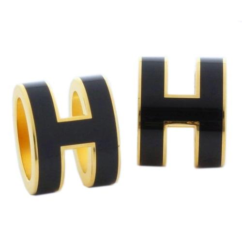 HERMES エルメス ピアス レディース ポップアッシュ ブラック ゴールド H608001F