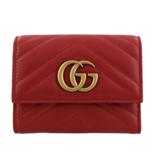 GUCCI グッチ 三つ折り財布 レディース GGマーモント レッド 474802 DRW1T 6433