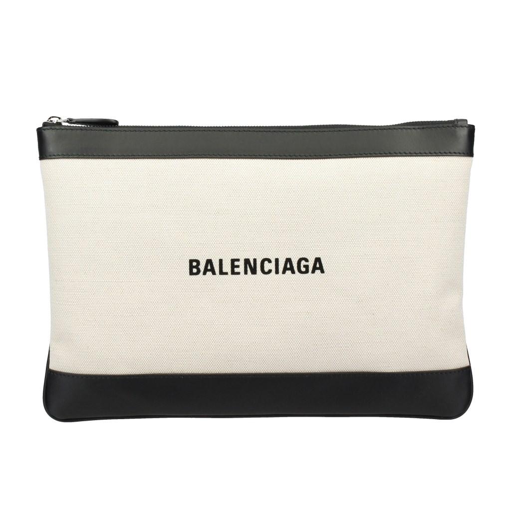 バレンシアガ 420407 BALENCIAGA 1080 AQ37N M ホワイト CLIP クラッチバッグ NAVY
