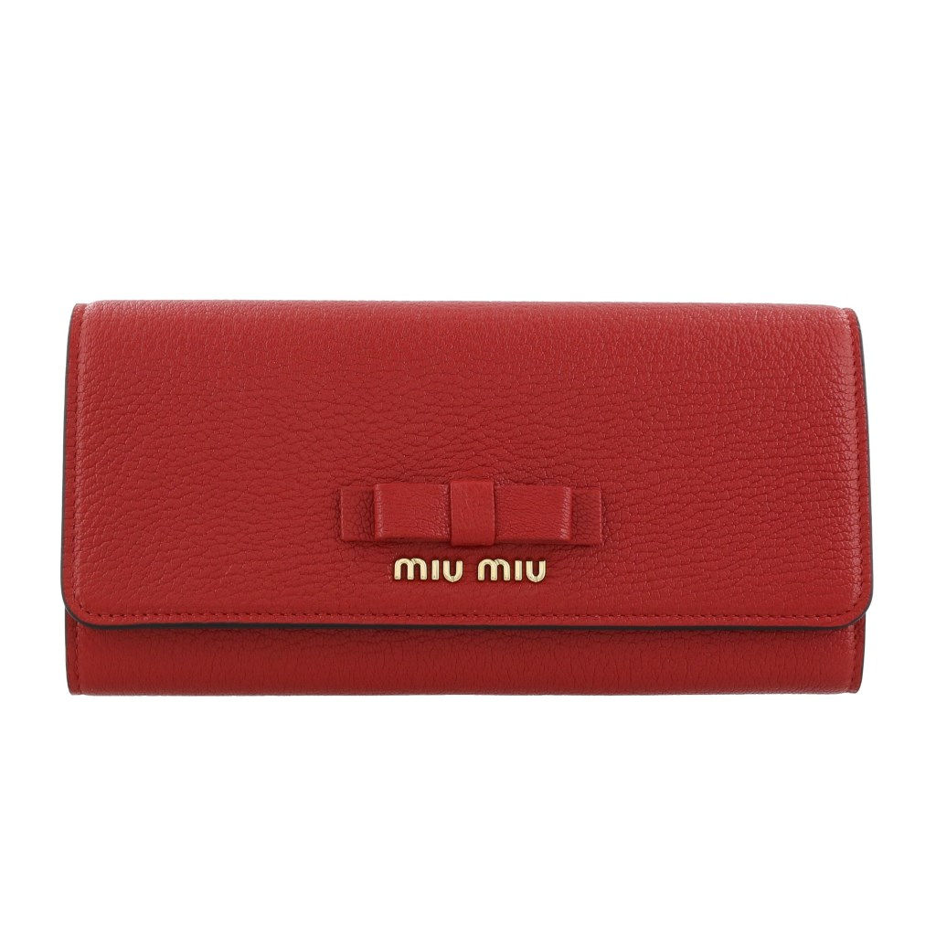 miu miu ミュウミュウ 長財布 レディース レッド 5MH109 3R7 F0JU2 FUOCO