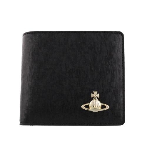 【38時間限定ポイント5倍 3/29 20時~】Vivienne Westwood ヴィヴィアンウエストウッド 二つ折り財布 メンズ SAFFIANO ブラック 51010009 BLACK