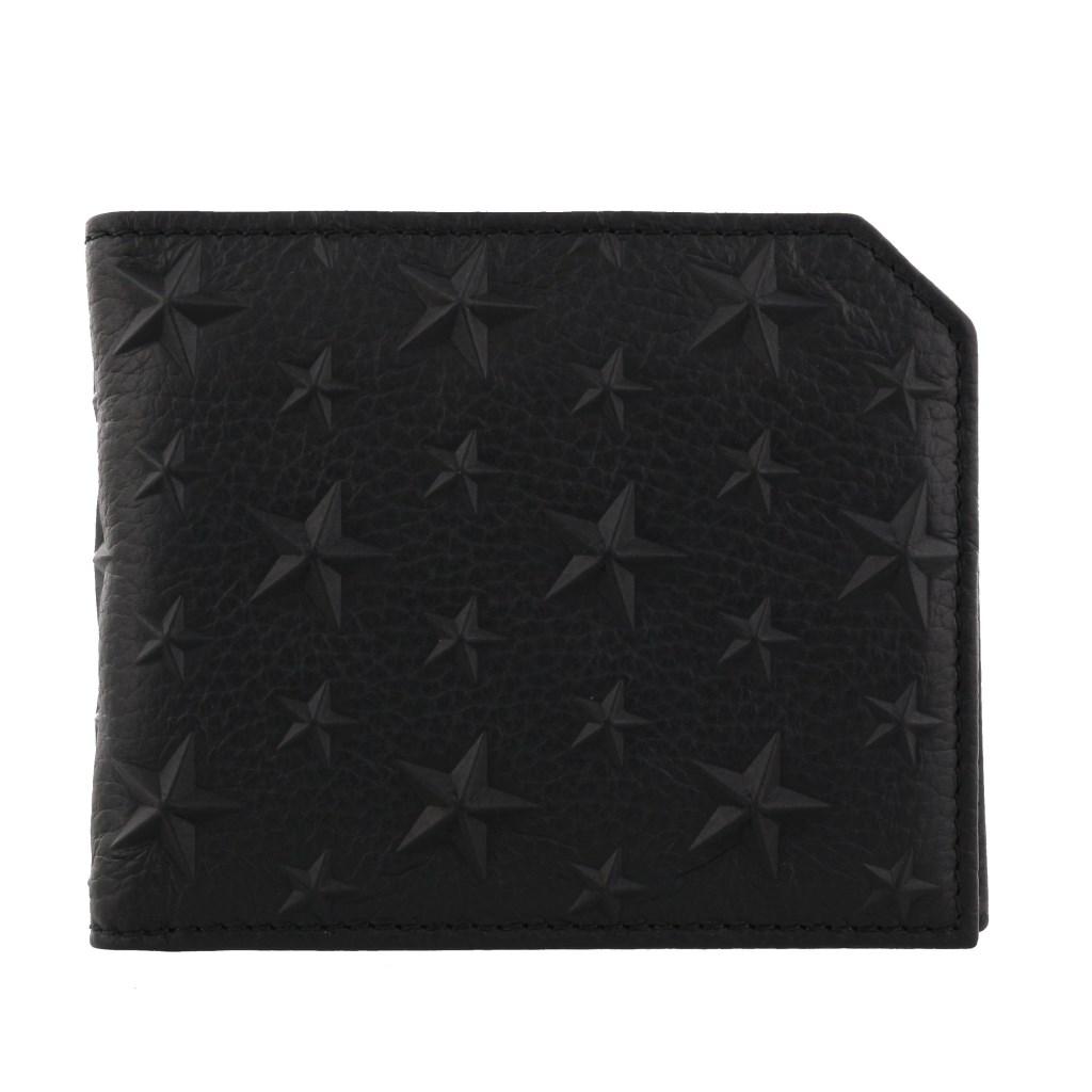 Jimmy Choo ジミーチュウ 二つ折り財布 メンズ ブラック ALBANY EMG BLACK