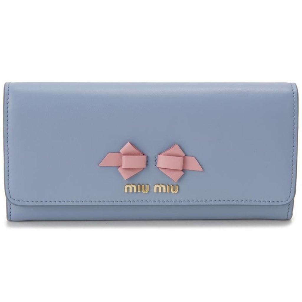miu miu ミュウミュウ 長財布 レディース ブルー 5MH109 UEI F0406 ASTRALE PETALO