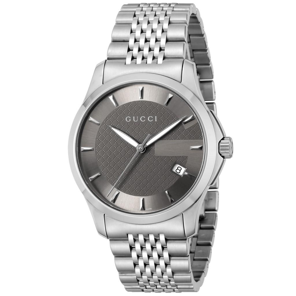 【38時間限定ポイント5倍 3/29 20時~】GUCCI グッチ 腕時計 メンズ Gタイムレス グレー YA126418