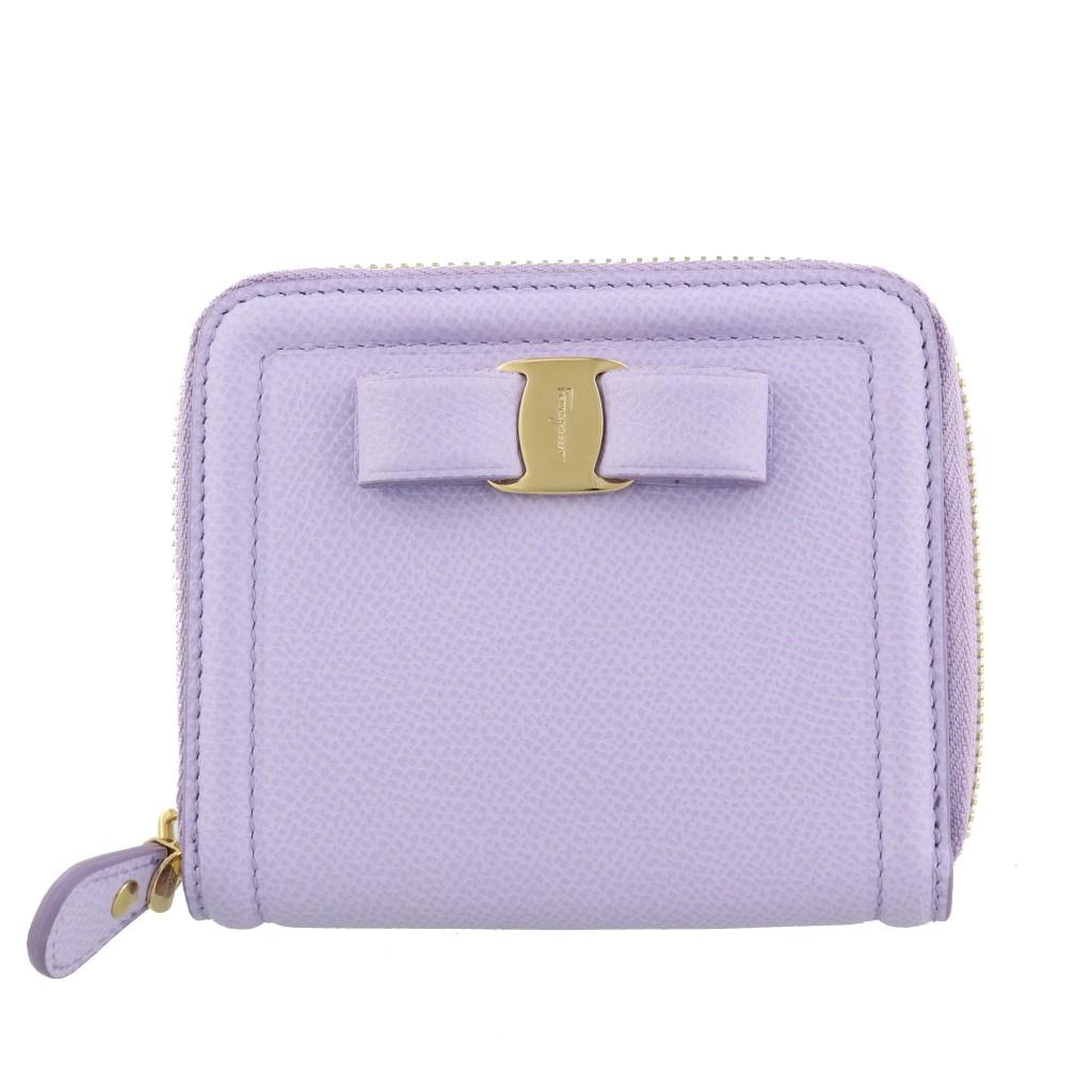 【期間限定ポイント10倍】フェラガモ 二つ折り財布 レディース ヴァラ リボン ピンク 22D156 LILAC