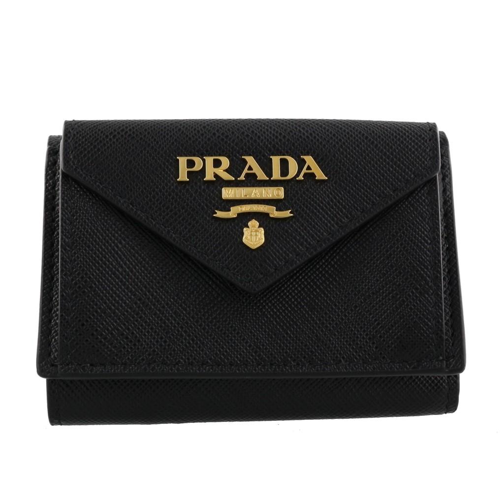 【期間限定ポイント10倍】プラダ 三つ折り財布 PRADA レディース SAFFIANO METAL ブラック 1MH021 QWA F0002 NERO
