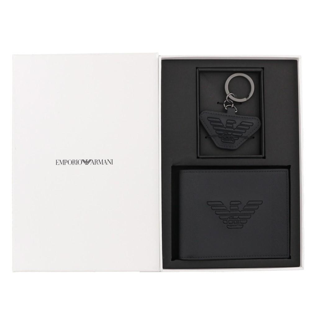 EMPORIO ARMANI エンポリオアルマーニ 二つ折り財布 メンズ ブラック Y4R174 YFE6J 81072 BLACK