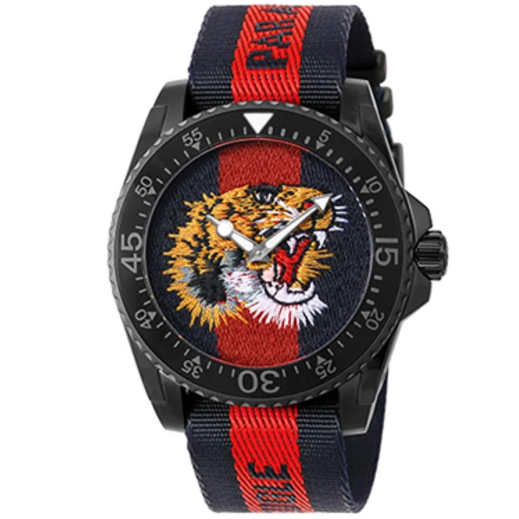 【期間限定ポイント10倍】グッチ 腕時計 メンズ GUCCI DIVE ネイビー×レッド YA136215