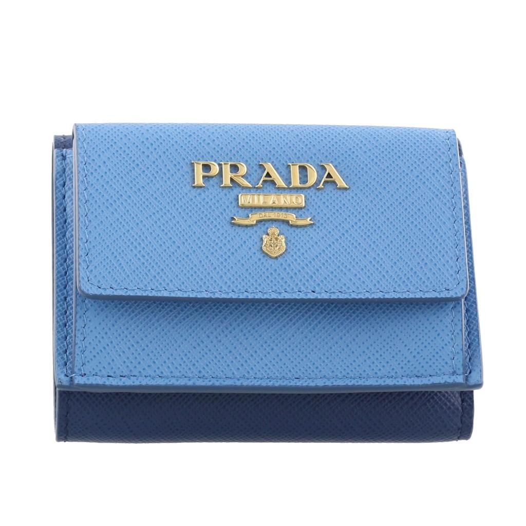 PRADA プラダ 三つ折り財布 ブルー 1MH021 SAFFIANO MULTICOLOR F0PL5 MARE+BLUETTE