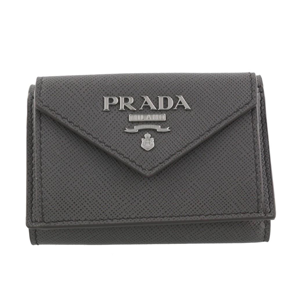 【期間限定ポイント10倍】プラダ 三つ折り財布 PRADA レディース グレー 1MH021 E6V F0YAT MARMO PESCA