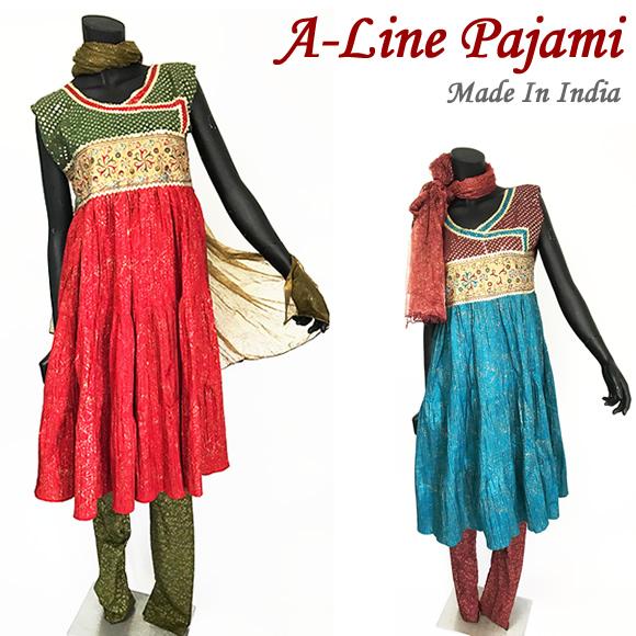 ふわっとAライン!元気いっぱい花刺繍のパンジャビ!元気いっぱい花刺繍&脚長チューリーダルトップス・パンツ・ロングスカーフ3点セットストールに小さなシミ有で特別価格ボリウッドダンス・インド古典舞踊の衣装に!
