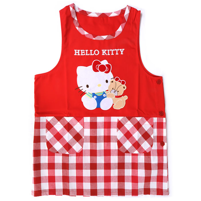 ec2747dce CutieShop: Hello Kitty orchid type apron check Sanrio adult apron ...