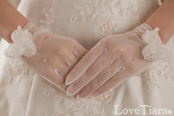 オーガンジーグローブ【フローラル】 | グローブ 手袋 オーガンジー ショート ウェディング ウエディング ブライダル 結婚式 二次会 前撮り 海外挙式 花嫁 花 リボン ビーズ 刺繍 小物 日本製 国産 高品質 パーティー 透け アイテム