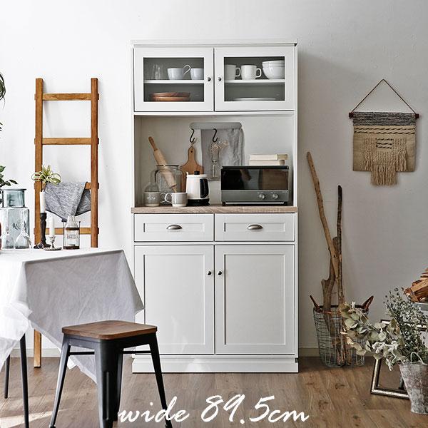 食器棚 キッチンキャビネット 幅89.5cm キッチン収納 キッチン シェーカースタイル シンプル キッチン キッチンラック ハイタイプ 収納棚 台所 台所用品 大型レンジ対応