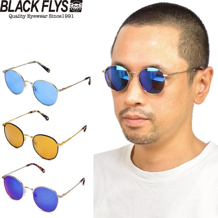 送料無料 クラシックなラウンド 丸型 メタルフレームのサングラス BLACK FLYS ブラックフライ BF-15502