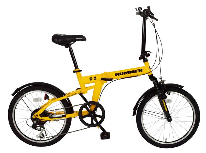 【送料無料】【代引不可】HUMMER(ハマー) 20インチ折畳自転車 FDB20 6段ギア付き  MG-HM206 レモンイエロー【北海道・沖縄・離島発送不可】