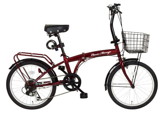 【送料無料】【代引不可】ミムゴ(MIMUGO) 20インチ折畳自転車 FDB20 6段ギア付き  MG-CM206 ワインレッド【北海道・沖縄・離島発送不可】