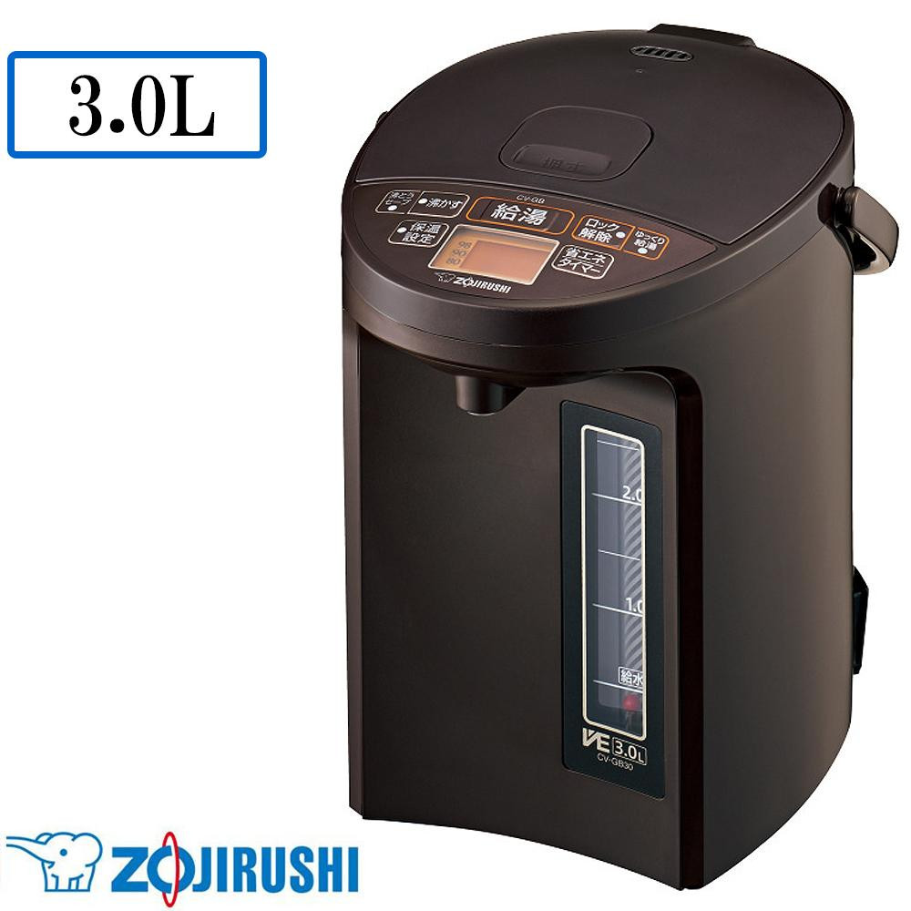 象印 マイコン沸とう VE電気まほうびん 優湯生(ゆうとうせい) TA(ブラウン) 3.0L CV-GB30-TA