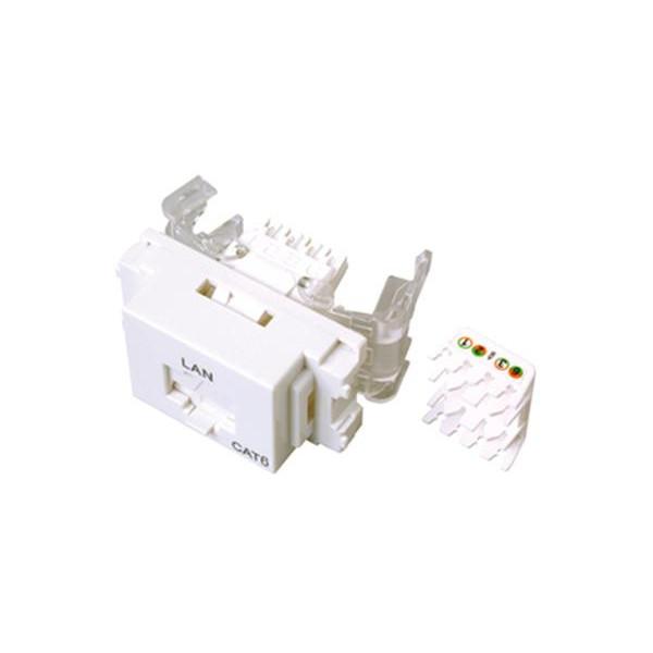 サン電子 LANモジュラジャック ツールレスタイプ Cat.6 ホワイト LMJ-6TLW 10個入