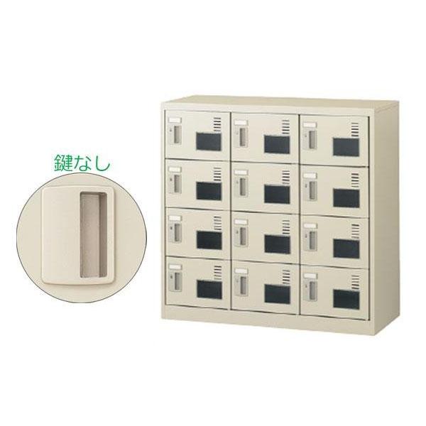 【同梱・代引き不可】SEIKO FAMILY(生興) 3列4段12人用シューズボックス 窓付タイプ(錠なし) SLC-M12W-K(55604)