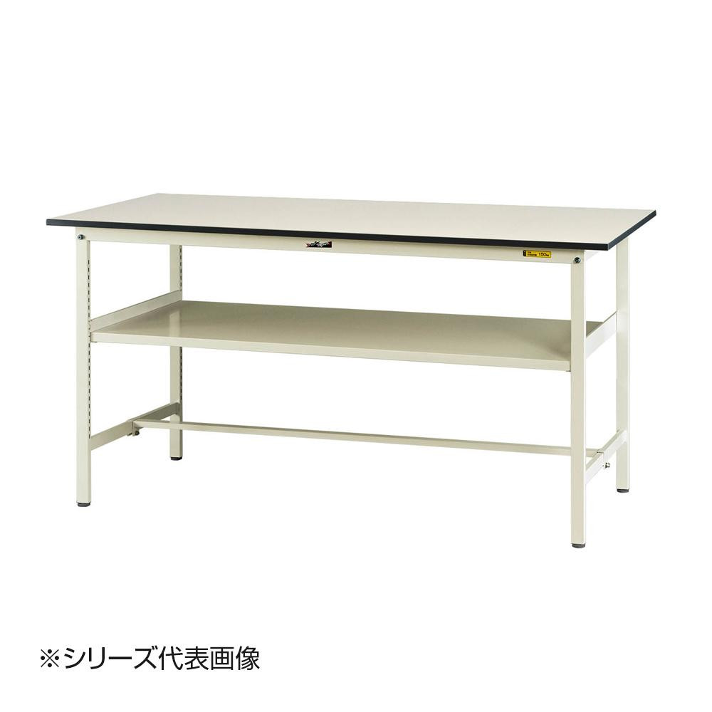 【同梱代引き不可】山金工業(YamaTec) SUPH-1245F-WW ワークテーブル150シリーズ 固定式 中間棚付(H950mm) 1200×450mm