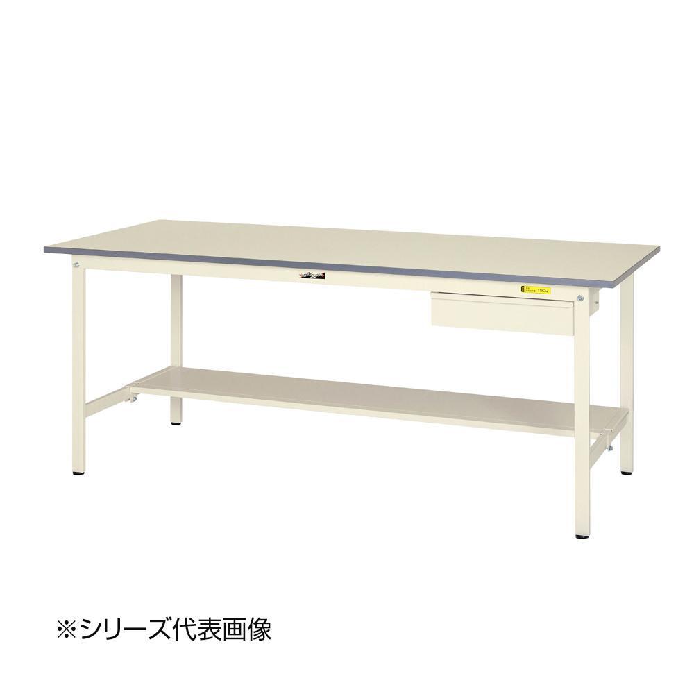 【同梱代引き不可】山金工業(YamaTec) SUP-1560UT-WW ワークテーブル150シリーズ 固定式 キャビネット付(H740mm) 1500×600mm (半面棚板付)