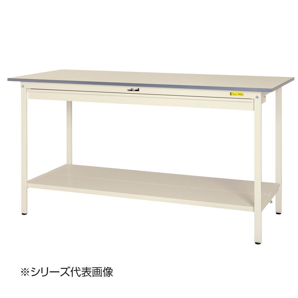 【同梱代引き不可】山金工業(YamaTec) SUPH-1875WTT-WW ワークテーブル150シリーズ 固定式 ワイド引き出し付(H950mm) 1800×750mm (全面棚板付)