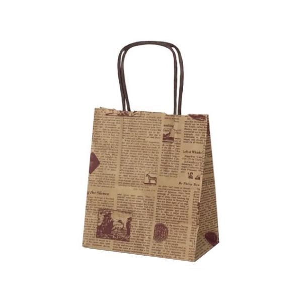 T-1 自動紐手提袋 紙袋 紙丸紐タイプ 180×100×210mm 200枚 リブル(ブラウン) 1123