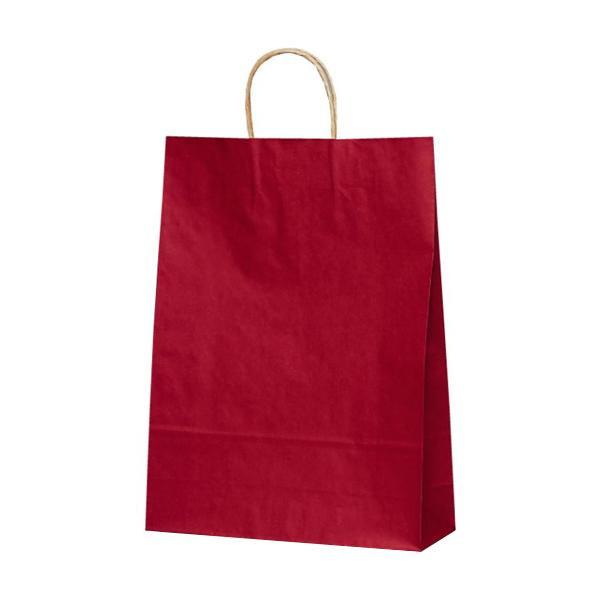 T-8 自動紐手提袋 紙袋 紙丸紐タイプ 320×110×430mm 200枚 カラー(赤) 1854
