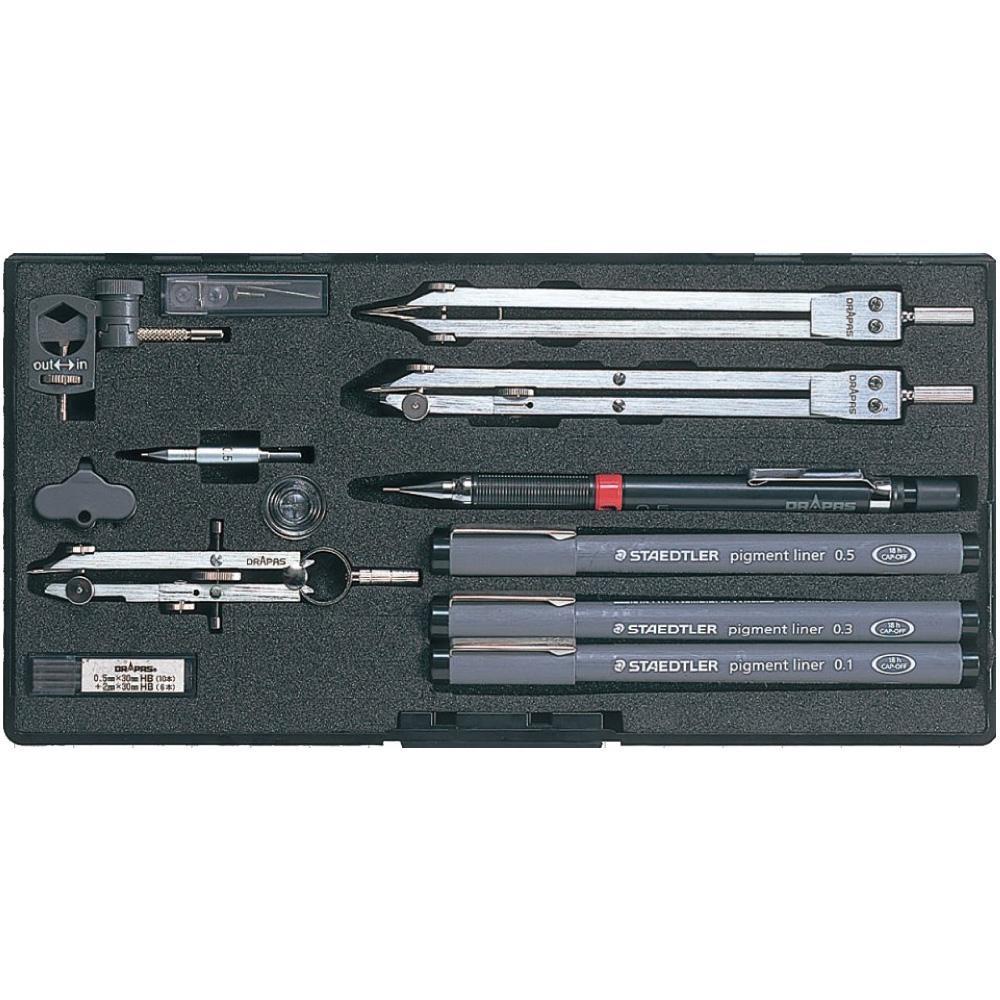 ドラパス NO.515 独式製図器セット 9本組16品
