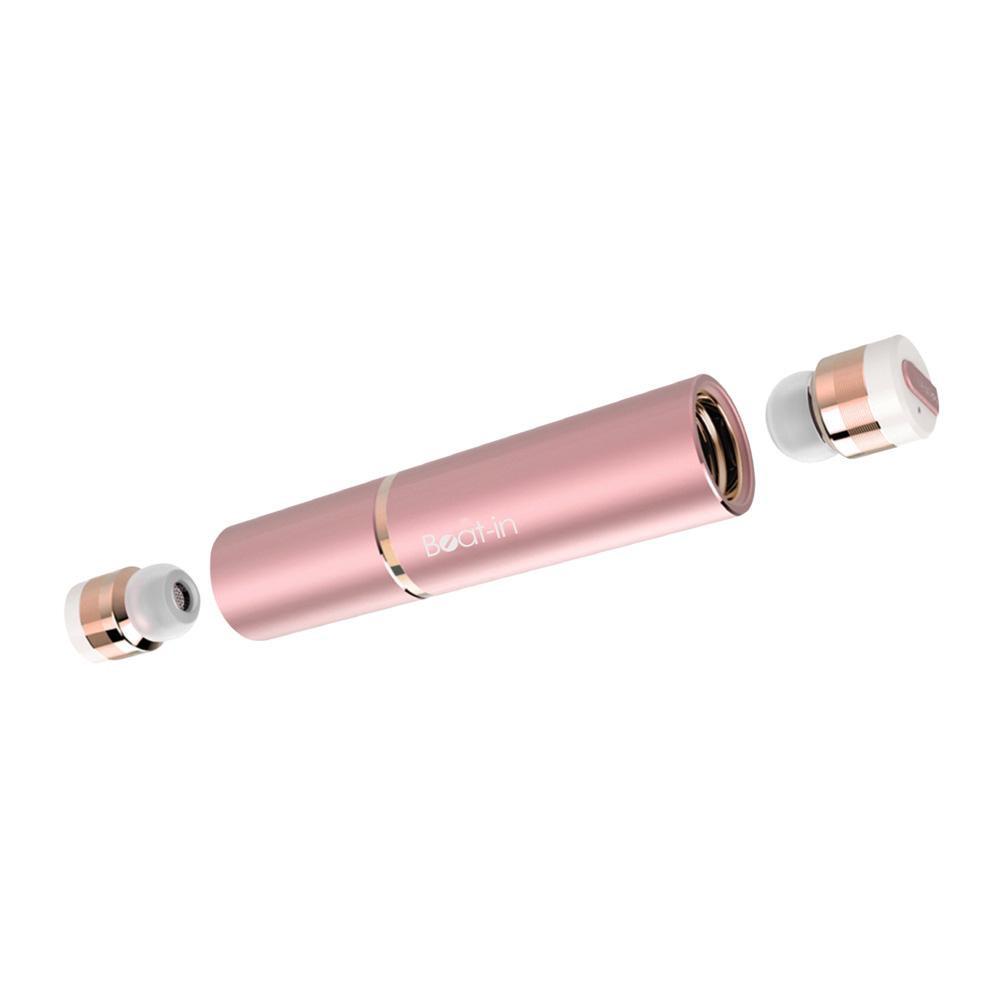 超小型・完全ワイヤレスイヤホン Beat-in Stick ローズゴールド