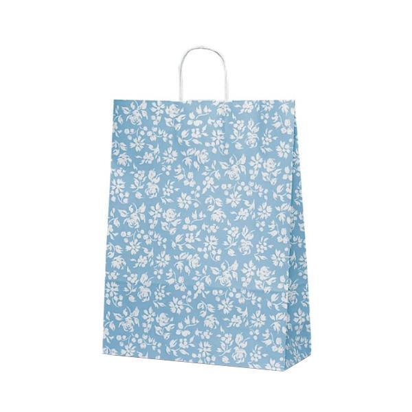 【同梱代引き不可】T-12 自動紐手提袋 紙袋 紙丸紐タイプ 380×145×500mm 200枚 カレン(ブルー) 1442