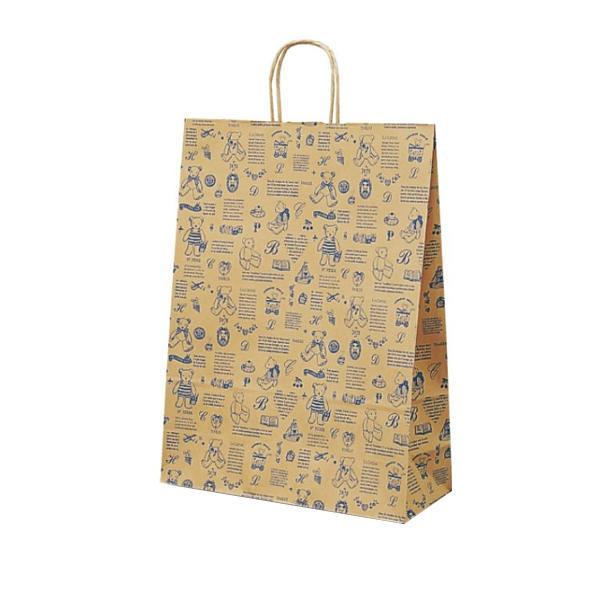 【同梱代引き不可】T-12 自動紐手提袋 紙袋 紙丸紐タイプ 380×145×500mm 200枚 ベアコレクション(ブルー) 1451