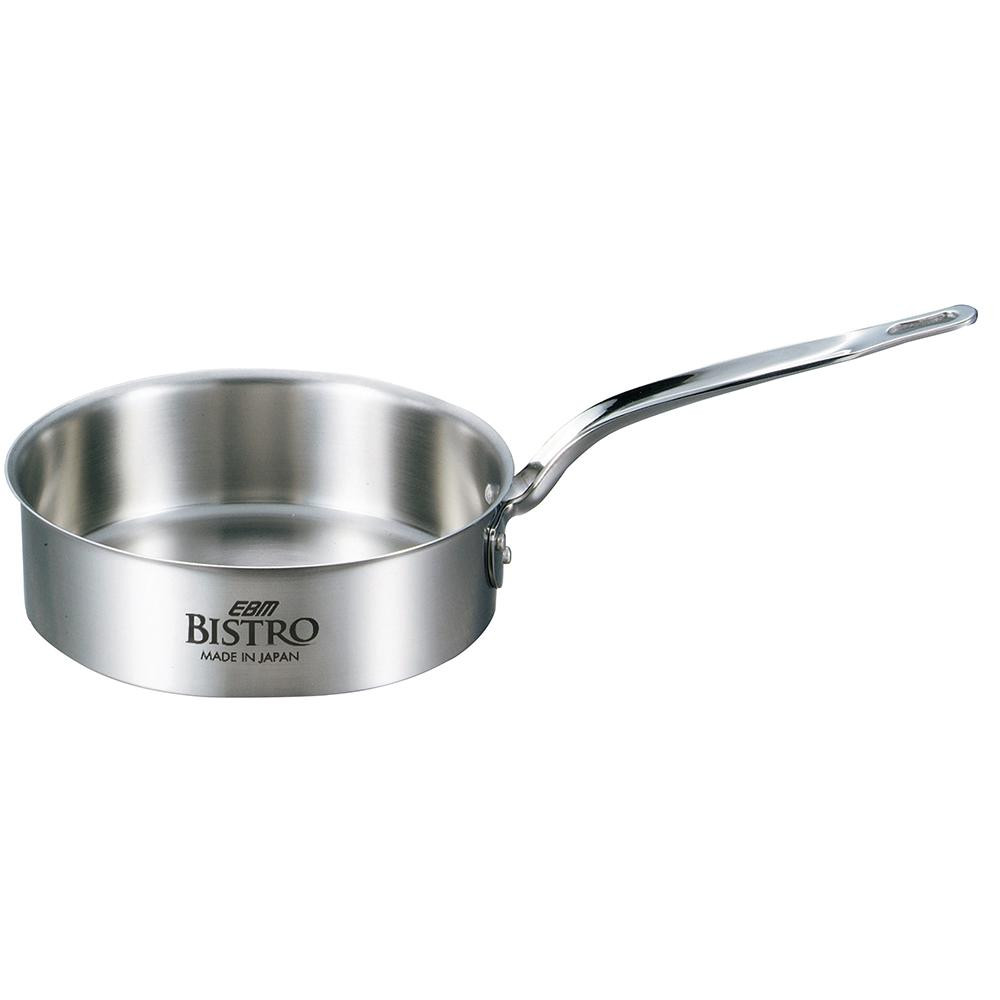 EBM ビストロ 三層クラッド 浅型片手鍋 24cm 蓋無 4146300