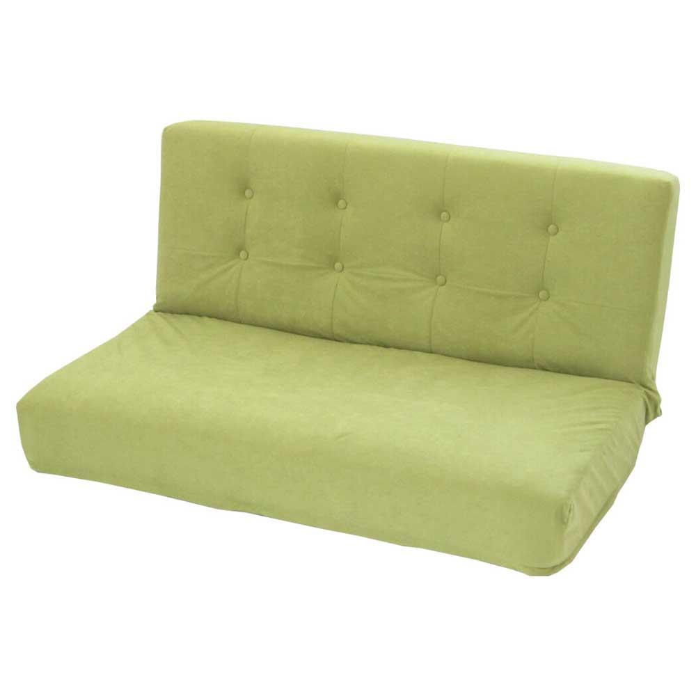 【同梱代引き不可】厚みのある座椅子W スエード調 オリーブグリーン