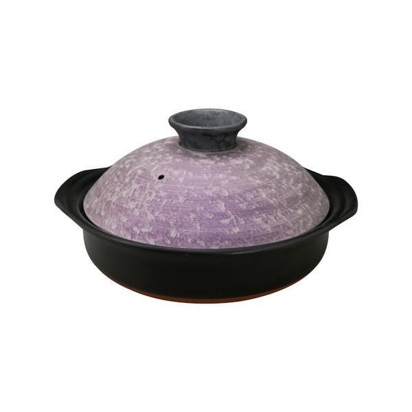 サビ絞り ラスター紫 セラミック加工IH土鍋 8号 7209-1854