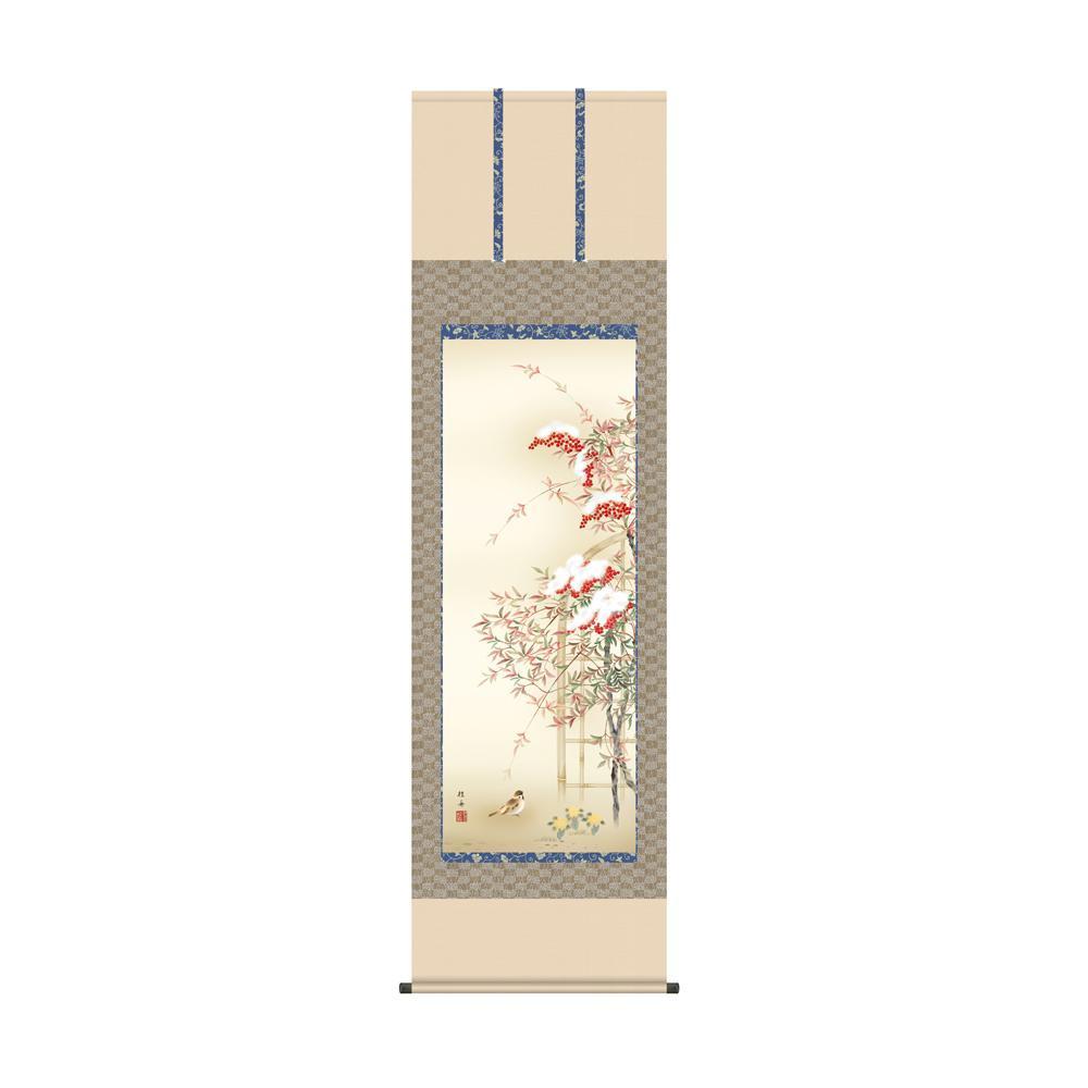 掛軸 長江桂舟「南天福寿」 KZ2A5-057 54.5×190cm