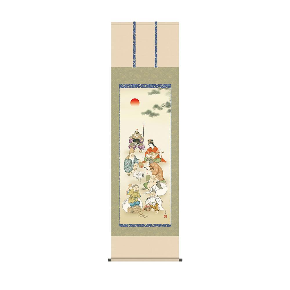 掛軸 鵜飼雄平 「七福神」 KZ2D1-029 54.5×190cm