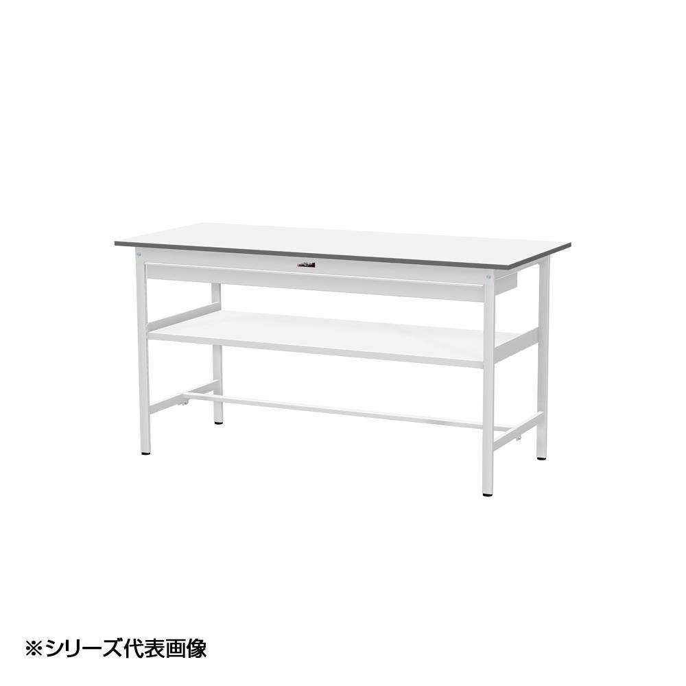 【同梱代引き不可】YamaTec SUPH-1260WF-WW ワークテーブル 150シリーズ 固定(H950mm)(中間棚板・ワイド引出し付き)