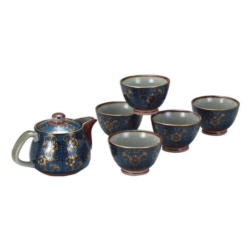 【同梱・代引き不可】 九谷焼 ポット茶器 青粒 N137-03