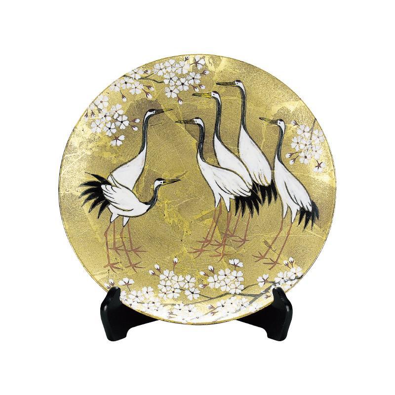 九谷焼 北村 隆 10号飾皿 金箔彩鶴に桜 N109-01