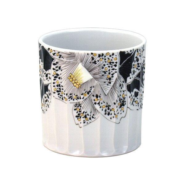九谷焼 良則作 ロックカップ(白九) 黒細描金彩椿 N125-03