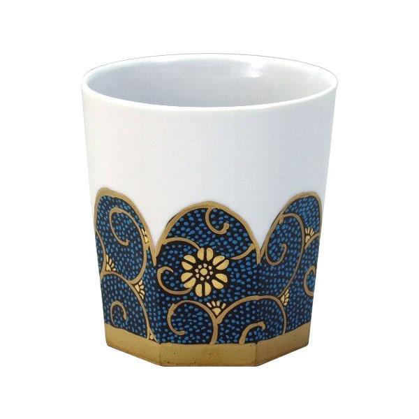 九谷焼 龍山作 ロックカップ(白九) 青粒鉄仙 N125-06