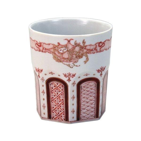 九谷焼 晃禎作 ロックカップ(白九) 赤絵金彩飛翔鳳凰紋 N125-08