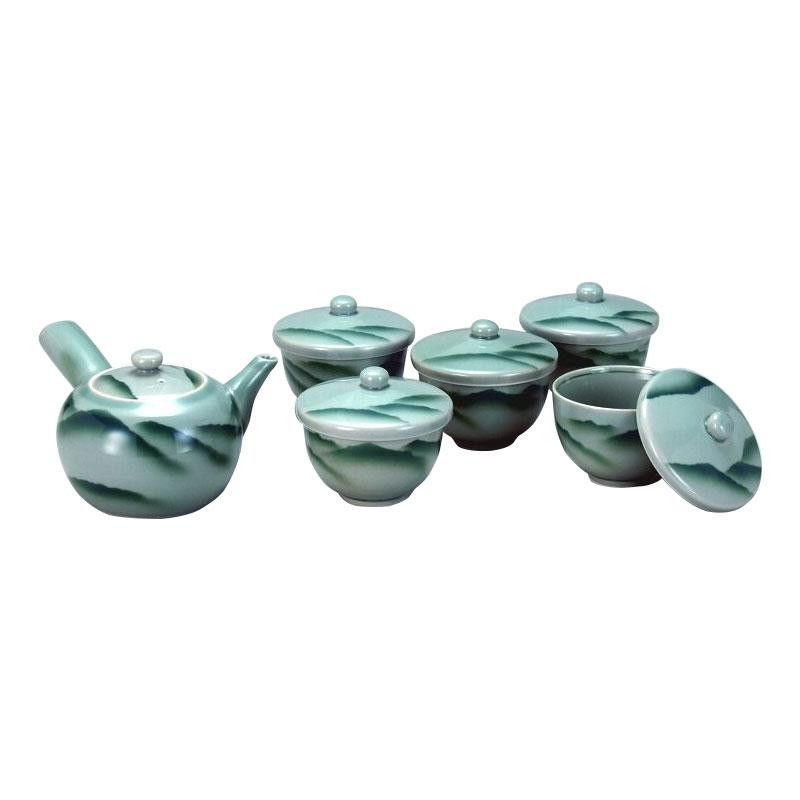 九谷焼 蓋付茶器 青磁山 N137-06