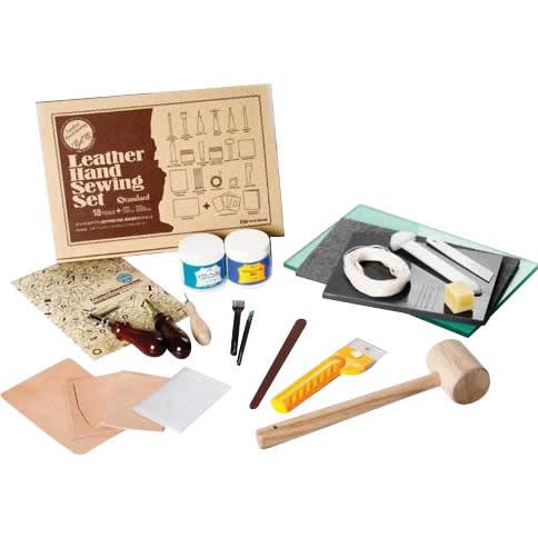 裁断道具の入った手縫い基本道具のフルセット クラフト社 レザーハンドソーイングセット スタンダード 18958 販売 低廉
